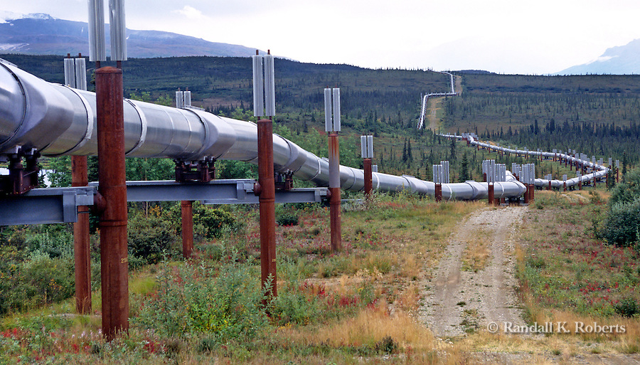 The Trans- Alaska Pipeline snakes its way south along the Richardson Highway, south of Fairbanks, Alaska.