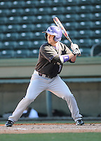 Left fielder Dykota Spiess (14) of the Western Carolina Catamounts in a game against the Cincinnati Bearcats on Sunday, February 24, 2013, at Fluor Field in Greenville, South Carolina. Cincinnati won in 10 innings, 7-6. (Tom Priddy/Four Seam Images)