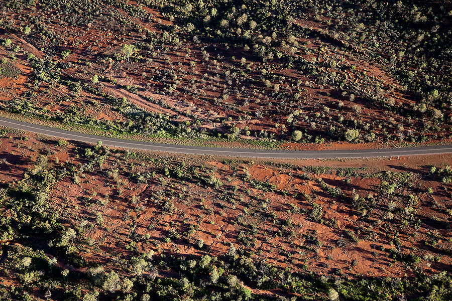 Aerial View of Larapinta Drive in the West MacDonnell ranges.