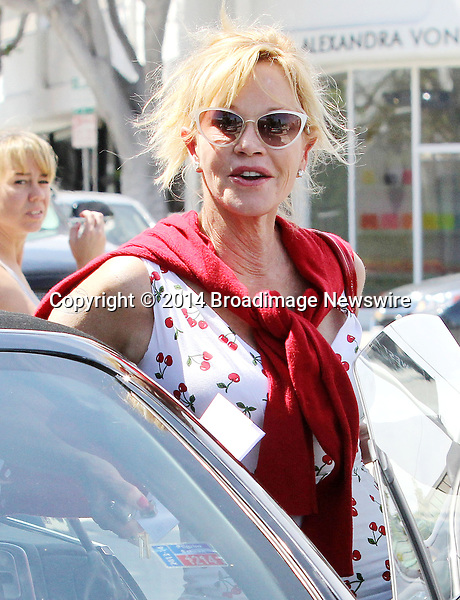 Pictured: Melanie Griffith<br /> Mandatory Credit &copy; Patron/Broadimage<br /> Melanie Griffith gets a parking ticket in West Hollywood<br /> <br /> 4/9/14, West Hollywood, California, United States of America<br /> <br /> Broadimage Newswire<br /> Los Angeles 1+  (310) 301-1027<br /> New York      1+  (646) 827-9134<br /> sales@broadimage.com<br /> http://www.broadimage.com