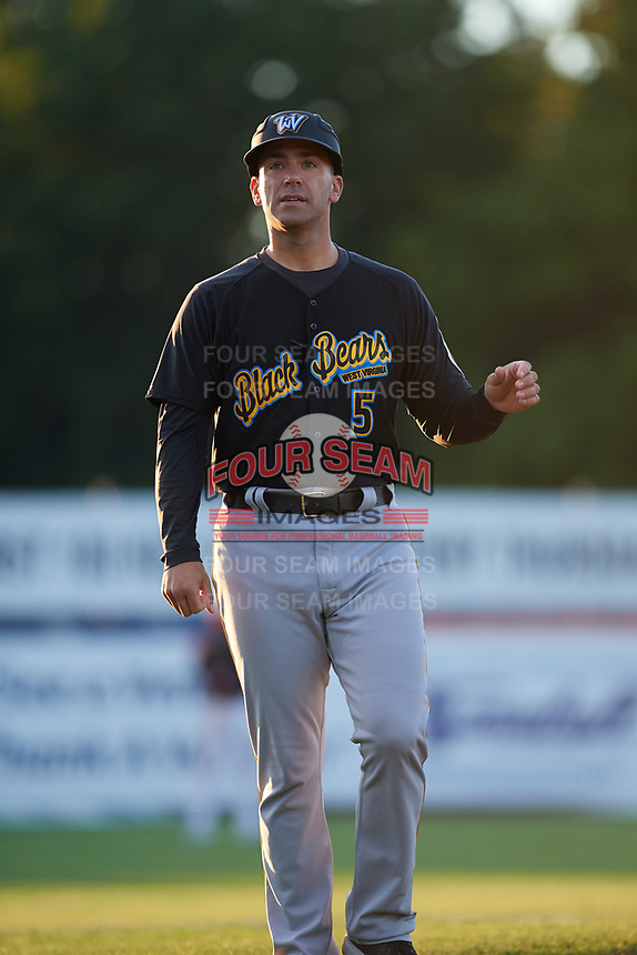West Virginia Black Bears coach Brian Esposito (5) during a game against the Batavia Muckdogs on August 5, 2017 at Dwyer Stadium in Batavia, New York.  Batavia defeated Williamsport 3-2.  (Mike Janes/Four Seam Images)
