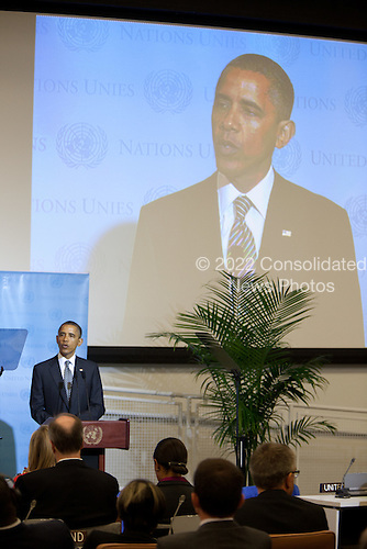 United States President Barack Obama addresses a meeting of the Libya Contact Group at the United Nations in New York, New York on Tuesday, September 20, 2011.  Chairman Mustafa Abdel Jalil of the Libyan Transitional National Council (TNC) and UN Secretary-General Ban Ki-Moon are in attendance..Credit: Allan Tannenbaum / Pool via CNP