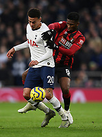 30th November 2019; Tottenham Hotspur Stadium, London, England; English Premier League Football, Tottenham Hotspur versus AFC Bournemouth; Dele Alli of Tottenham Hotspur competes for the ball with Jefferson Lerma of Bournemouth  - Strictly Editorial Use Only. No use with unauthorized audio, video, data, fixture lists, club/league logos or 'live' services. Online in-match use limited to 120 images, no video emulation. No use in betting, games or single club/league/player publications