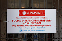 Pictured:A Coronavirus public information banner in Neath, Wales, UK. Friday 27 March 2020<br /> Re: Covid-19 Coronavirus pandemic, UK.