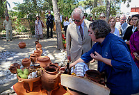 Pictured: Prince Charles is being shown replicas of some of the exhibits Knossos on the island of Crete, Greece. Friday 11 May 2018 <br /> Re:HRH Prnce Charles and his wife the Duchess of Cornwall visit the ancient site of Knossos near Heraklion, Greece.