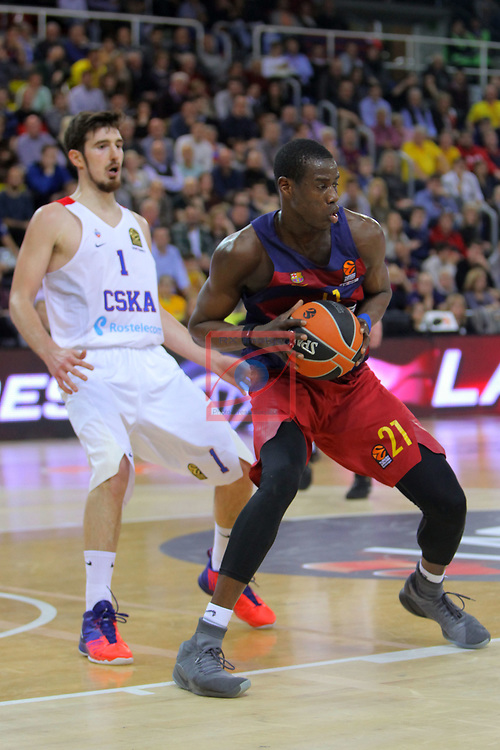 Turkish Airlines Euroleague 2016/2017.<br /> Regular Season - Round 24.<br /> FC Barcelona Lassa vs CSKA Moscow: 61-85.<br /> Nando de Colo vs Moussa Diagne.