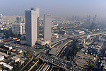 The Ayalon Highway and the towers of Azrieli Centre in Tel Aviv, Israel. <br />