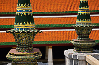 """Symbolic offerings in cone shape called """"Phanom Mak"""" situated on the marble terrace, Wat Phra Kaeo, Bangkok, Thailand"""
