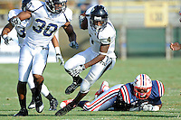 30 October 2010:  FIU wide receiver T.Y. Hilton (4) breaks into the FAU secondary in the first quarter as the Florida Atlantic University Owls defeated the FIU Golden Panthers, 21-9, at Lockhart Stadium in Fort Lauderdale, Florida.