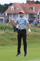 Rafa Cabrera Bello (ESP) jumps to get a view of the green on the 15th fairway during Round 1 of the Aberdeen Standard Investments Scottish Open 2019 at The Renaissance Club, North Berwick, Scotland on Thursday 11th July 2019.<br /> Picture:  Thos Caffrey / Golffile<br /> <br /> All photos usage must carry mandatory copyright credit (© Golffile | Thos Caffrey)