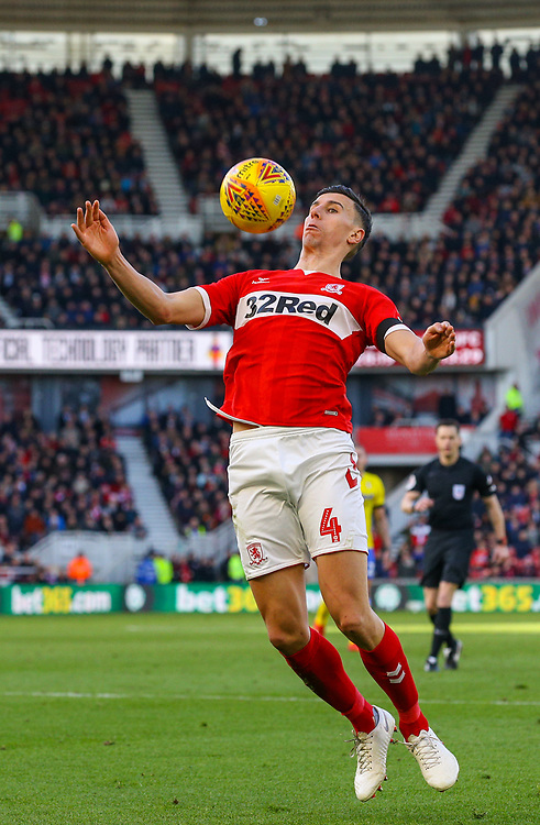 Middlesbrough's Daniel Ayala in action<br /> <br /> Photographer Alex Dodd/CameraSport<br /> <br /> The EFL Sky Bet Championship - Middlesbrough v Leeds United - Saturday 9th February 2019 - Riverside Stadium - Middlesbrough<br /> <br /> World Copyright © 2019 CameraSport. All rights reserved. 43 Linden Ave. Countesthorpe. Leicester. England. LE8 5PG - Tel: +44 (0) 116 277 4147 - admin@camerasport.com - www.camerasport.com