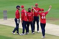 Ashar Zaidi of Essex celebrates taking the wicket of Sam Northeast during Kent Spitfires vs Essex Eagles, Royal London One-Day Cup Cricket at the St Lawrence Ground on 17th May 2017