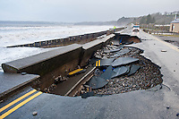 Friday 03 January 2014<br /> Pictured: The Road in Amroth, West wales, dameaged by the see during a mix high tides and weather.<br /> Re: Storm force winds and some of the highest tides in decades hit Wales early on Friday.