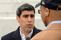 Former New York Red Bull and US National Team captain Claudio Reyna is interviewed after the topping off ceremony at Red Bull Arena in Harrison, NJ, on April 14, 2009.