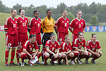 Canada's starters. Front row (l to r): Christine Sinclair, Diana Matheson, Amanda Cicchini, Kara Lang, Katie Thorlakson. Back row (l to r): Brittany Timko, Amy Walsh, Candace Chapman, Randee Hermus, Sophie Schmidt on Sunday June 26th, 2005, during an international friendly soccer match at Virginia Beach Sportsplex in Virginia Beach, Virginia. The United States won the game 2-0.