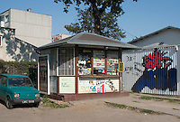 Polish kiosk sklep selling most everything from cigarettes to lotions. Lutomierska Street Balucki District Lodz Central Poland