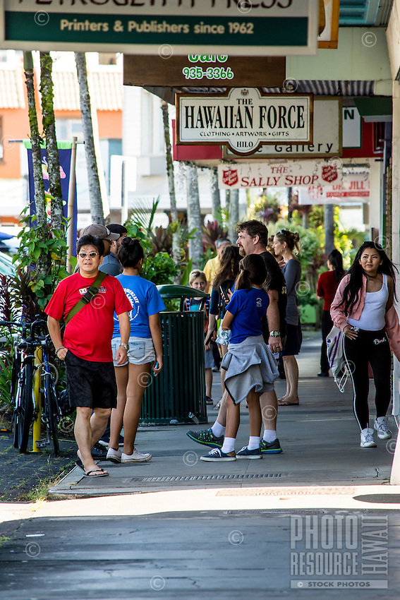 Many enjoy the waterfront shops along Kamehameha Avenue, Hilo, Big Island of Hawai'i.