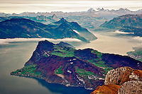 View of the Alps and Lake Lucerne from atop Pilatus Mountain, Lucerne, Switzerland