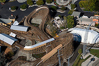 aerial photograph rollercoaster California's Great America amusement park, Santa Clara, California
