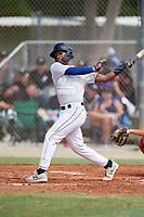 Kevin Rios (18) during the WWBA World Championship at the Roger Dean Complex on October 11, 2019 in Jupiter, Florida.  Kevin Rios attends Redan High School in Stone Mountain, GA and is committed to Talladega College.  (Mike Janes/Four Seam Images)