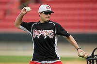 Carolina Mudcats manager David Bell #25 throws batting practice at Five County Stadium August 15, 2009 in Zebulon, North Carolina. (Photo by Brian Westerholt / Four Seam Images)