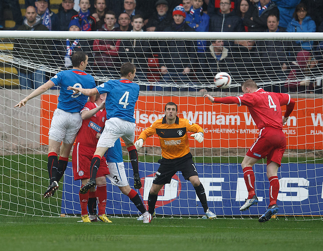 Brechin captain Graham Hay heads in the opening goal against Rangers