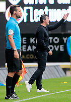 Fleetwood Town Manager Joey Barton shouts instructions to his team from the sidelines<br /> <br /> Photographer David Shipman/CameraSport<br /> <br /> The EFL Sky Bet League One - Oxford United v Fleetwood Town - Saturday August 11th 2018 - Kassam Stadium - Oxford<br /> <br /> World Copyright &copy; 2018 CameraSport. All rights reserved. 43 Linden Ave. Countesthorpe. Leicester. England. LE8 5PG - Tel: +44 (0) 116 277 4147 - admin@camerasport.com - www.camerasport.com