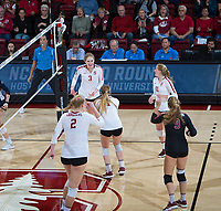STANFORD, CA - December 1, 2018: Holly Campbell, Kathryn Plummer, Jenna Gray, Kate Formico, Morgan Hentz at Maples Pavilion. The Stanford Cardinal defeated Loyola Marymount 25-20, 25-15, 25-17 in the second round of the NCAA tournament.