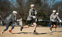 NWA Democrat-Gazette/BEN GOFF @NWABENGOFF<br /> Luke Shepard (from left), Henry Shreve and Cedrick Sanchez, all of Bentonville practice lacrosse Saturday, Jan. 5, 2019, at Old Tiger Stadium Park in Bentonville. The boys play for the Bentonville combined high school lacrosse team, and open their season Feb. 15.