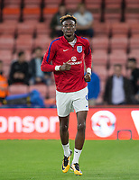 Tammy Abraham (Swansea City (on loan from Chelsea) of England U21 warms up ahead of the UEFA EURO U-21 First qualifying round International match between England 21 and Latvia U21 at the Goldsands Stadium, Bournemouth, England on 5 September 2017. Photo by Andy Rowland.