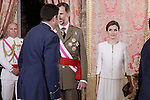 King Felipe VI of Spain and Queen Letizia of Spain attend the 2015 Armed Forces Day Ceremony. June 6,2015. (ALTERPHOTOS/Pool)