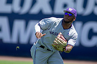 University of Washington Huskies Christian Jones (5) on defense against the Cal State Fullerton Titans at Goodwin Field on June 08, 2018 in Fullerton, California. The University of Washington Huskies defeated the Cal State Fullerton Titans 8-5. (Donn Parris/Four Seam Images)