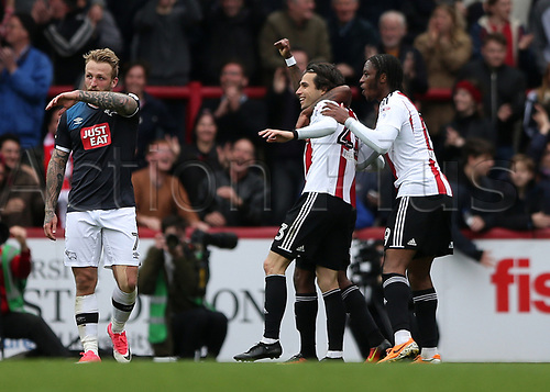 April 14th 2017,  Brent, London, England; Skybet Championship football, Brentford versus Derby County; Jota of Brentford celebrates scoring his sides 2nd goal in the 70th minute to make it 2-0