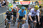 Chris Froome (GBR) Team Sky and Jakob Fuglsang (DEN) Astana cross the finish of Stage 3 of the 104th edition of the Tour de France 2017, running 212.5km from Verviers, Belgium to Longwy, France. 3rd July 2017.<br /> Picture: Eoin Clarke | Cyclefile<br /> <br /> All photos usage must carry mandatory copyright credit (&copy; Cyclefile | Eoin Clarke)