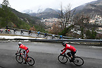 The peleton descend cautiously during a wet miserable Stage 7 of the 2018 Paris-Nice running 175km from Nice to Valdeblore la Colmiane, France. 10th March 2018.<br /> Picture: ASO/Alex Broadway   Cyclefile<br /> <br /> <br /> All photos usage must carry mandatory copyright credit (&copy; Cyclefile   ASO/Alex Broadway)