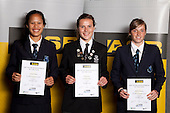 Football Girls finalists Sivitha Boyce, Nadia Pearl and Rebecca Burrows.  ASB College Sport Young Sportsperson of the Year Awards held at Eden Park, Auckland, on November 11th 2010.