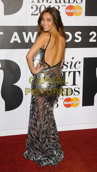 Myleene Klass<br /> Classical Brit Awards 2013 at The Royal Albert Hall, London, England.<br /> 2nd October, 2013<br /> full length dress silver metallic sheer see through thru backless looking over shoulder knickers underwear hand on hip<br /> CAP/CAN<br /> &copy;Can Nguyen/Capital Pictures