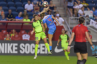 Bridgeview, IL - Wednesday August 16, 2017: Rumi Utsugi, Alyssa Mautz during a regular season National Women's Soccer League (NWSL) match between the Chicago Red Stars and the Seattle Reign FC at Toyota Park.