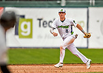 25 July 2017: Vermont Lake Monsters third baseman Will Toffey, a 4th round draft pick for the Oakland Athletics, fields in infield grounder in the 8th inning against the Tri-City ValleyCats at Centennial Field in Burlington, Vermont. The Lake Monsters defeated the ValleyCats 11-3 in NY Penn League action. Mandatory Credit: Ed Wolfstein Photo *** RAW (NEF) Image File Available ***