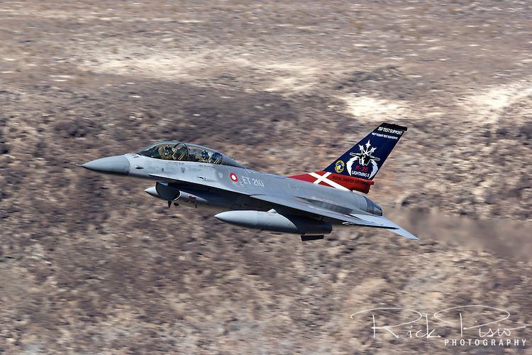 Royal Danish Air Force F-16 in low level flight over California's Mojave Desert.