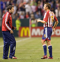 Chivas USA head coach Preki chats with midfielder Jesse Marsch during a MLS match. Chivas USA beat Toronto FC 2-0 at the Home Depot Center in Carson, California, Saturday, April 7, 2007.