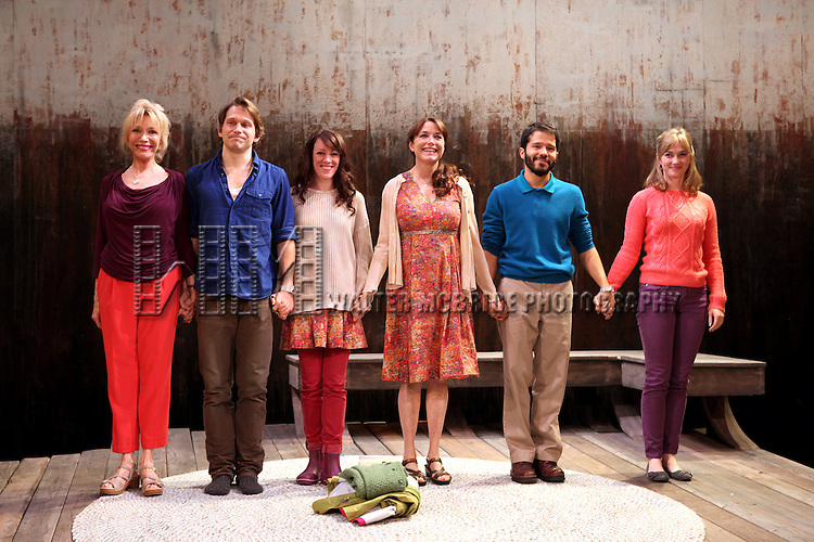 Curtain Call: Pamela Shaw, McCaleb Burnett, Samantha Soule, Karen Allen, Carlo Alban and Maren Bush during the Opening Night Performance of The Rattlestick Playwrights Theater Production of 'A Summer Day' at the Cherry Lane Theatre on 10/25/2012 in New York.