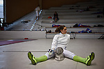 30.7.2015, Berlin Olympic Park. Competitions during the 14th European Maccabi Games. Fencing practice. Us fencer Alexis Browne