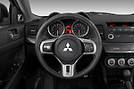 Steering wheel view of a 2008 Mitsubishi Lancer Evolution