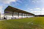 The Tin Shed Stand at Blackwell Meadows. Darlington 1883 v Southport, National League North, 16th February 2019. The reborn Darlington 1883 share a ground with the town's Rugby Union club. <br /> After several years of relegations, bankruptcies, and ground moves, the club is fan owned, and back on an even keel in the National League North.<br /> A 0-0 draw with Southport was marred by a broken leg and dislocated knee suffered by Sam Muggleton, Darlington's on loan left back.<br /> Both teams finished the season in lower mid table.