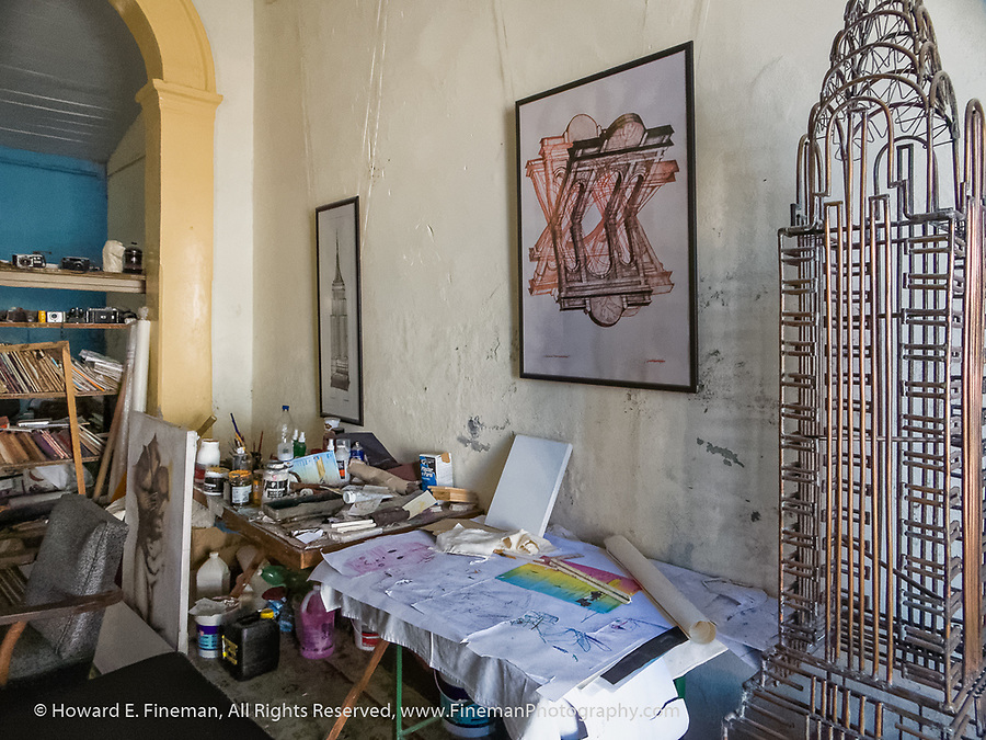 Cienfuegos artist's studio in his home