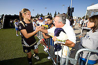 Erika greets fans. FC Gold Pride defeated the Boston Breakers, 2-1, in their home opener on April 5, 2009 at Buck Shaw Stadium in Santa Clara, CA.