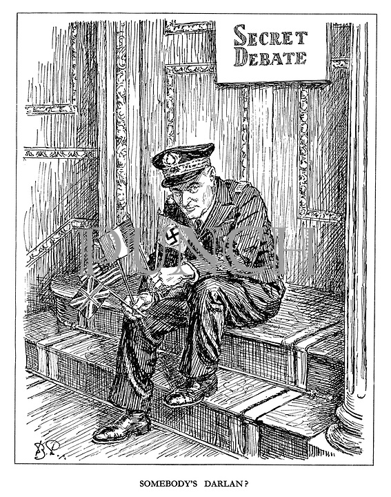 Somebody's Darlan? (French Vichy Admiral Darlan sits outside the Allied Secret Debate clutching the British, French, American and German flags after having ceded control to the Allies in North Africa)