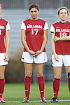 22 November 2013: Arkansas' Teni Butler (17). The University of Arkansas Razorbacks played the Saint John's University Red Storm at Koskinen Stadium in Durham, NC in a 2013 NCAA Division I Women's Soccer Tournament Second Round match. Arkansas won the game 1-0.