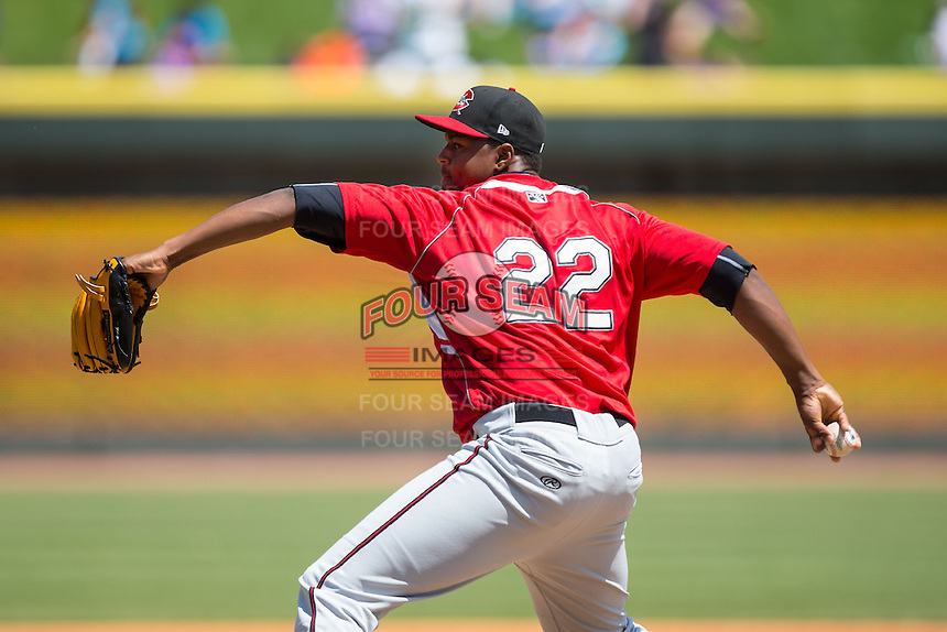 Carolina Mudcats relief pitcher Mauricio Cabrera (22) in action against the Winston-Salem Dash at BB&T Ballpark on April 22, 2015 in Winston-Salem, North Carolina.  The Dash defeated the Mudcats 4-2..  (Brian Westerholt/Four Seam Images)
